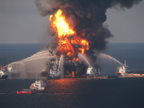 """Deepwater Horizon Offshore Oil Derrick Aflame"" by EPI2oh"
