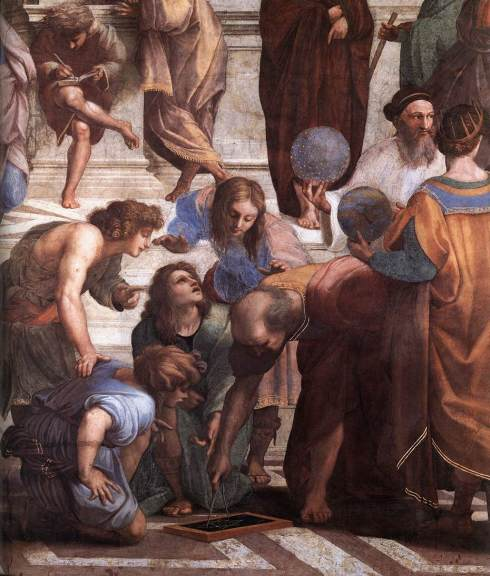 """Euclid in The School of Athens by Raffaello Sanzio"" by an unknown photographer for the Web Gallery of Art via Wikimedia Commons"