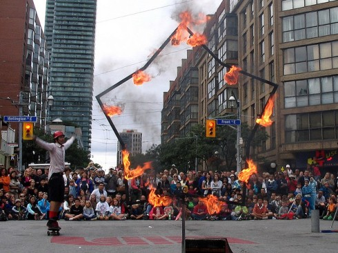 """Fireboy, a Busker in Toronto Buskerfest 2009"" image by Loozrboy"